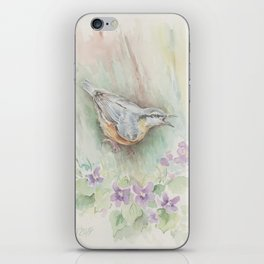 Nuthatch Wildlife watercolour painting Forest bird with flowers Nature painting Vegan Decor iPhone Skin