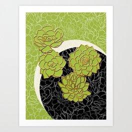 Golden Flowers on Happy Green Art Print