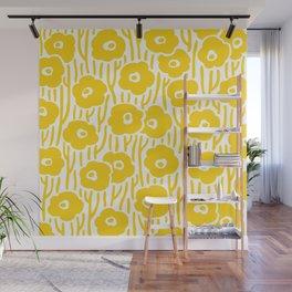 Mid Century Modern Wild Flowers Yellow Wall Mural