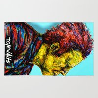 tom waits Area & Throw Rugs featuring Tom Waits by Alec Goss