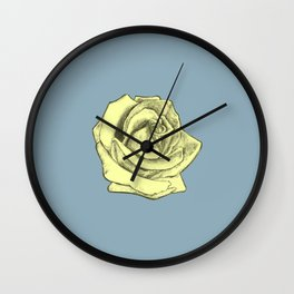 Rose Sketch Yellow Tint on Blue Wall Clock