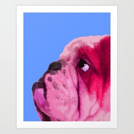 English bulldog portrait, Blue Pop art. Art Print