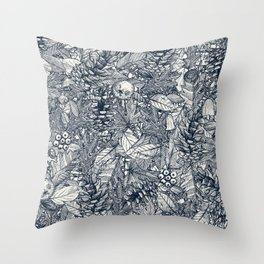 forest floor indigo ivory Throw Pillow
