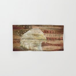 Rustic Bald Eagle Bird American Flag Patriotic Country Art A167 Hand & Bath Towel