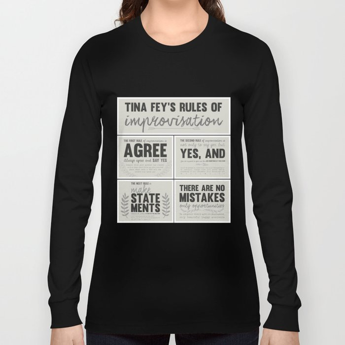 Tina Fey's Rules of Improvisation Long Sleeve T-shirt by lacacamola