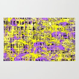 Purple and Yellow Shredded Abstract Rug