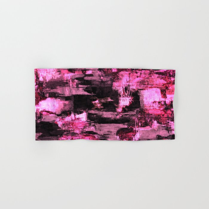 Harsh Pink - Neon Pink Abstract Hand & Bath Towel