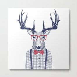 MR DEER WITH GLASSES Metal Print