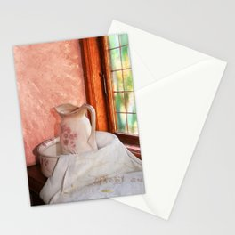 Good morning- vintage pitcher and wash bowl Stationery Cards