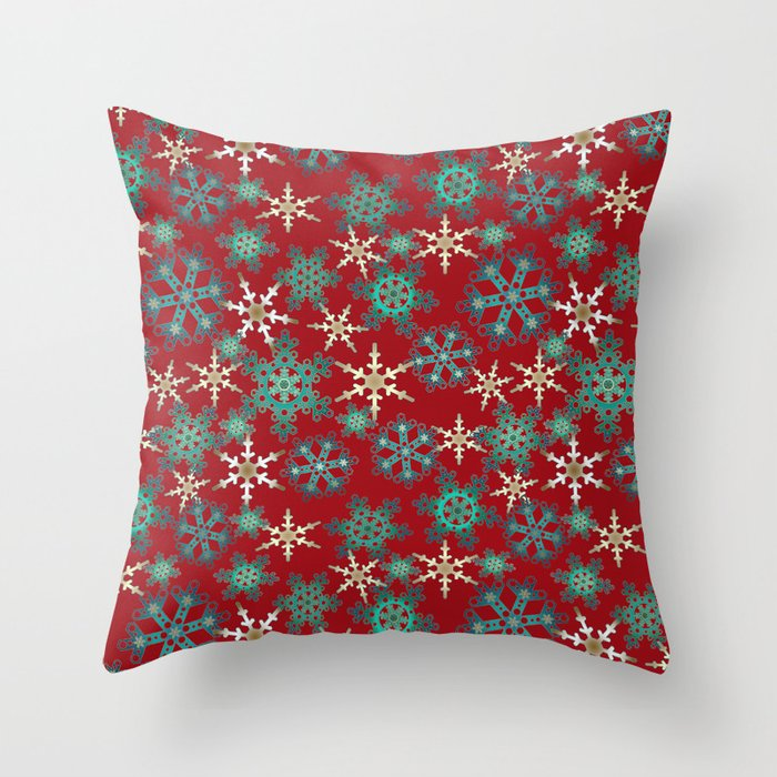 Red Blue Abstract Christmas Decor Snowflakes Throw Pillow By