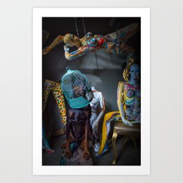 Doberman in Bird Cage Modeling with Nude Painted Mannequins Artistic and Colorful Art Print