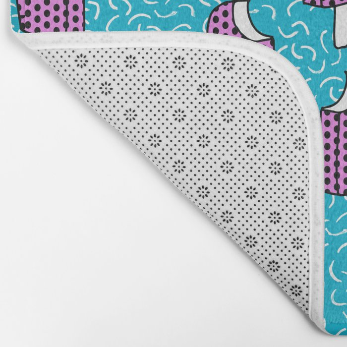 Bite Me - popsicle throwback 80s style memphis dots pattern trendy hipster summer ice cream Bath Mat