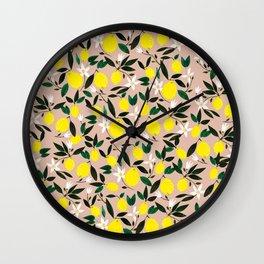 Juicy Lemons Pink Wall Clock