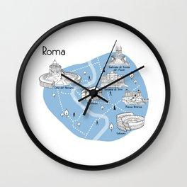 Mapping Roma - Blue Wall Clock