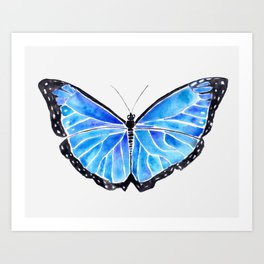 Big Blue Butterfly Watercolor Art Print