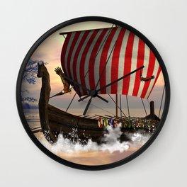 The  viking longship Wall Clock
