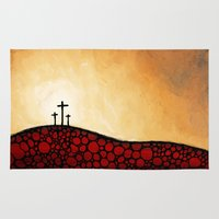 christian Area & Throw Rugs featuring Forgiven - Christian Art By Sharon Cummings by Sharon Cummings