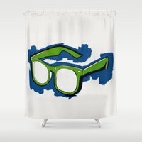 glasses Shower Curtains featuring Glasses by Devin Schmidt