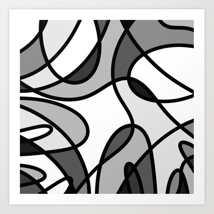 Grayscale Curves Black And White Abstract Art Print By Printpix