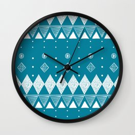 Geometric Teal, Turquoise abstract Wall Clock