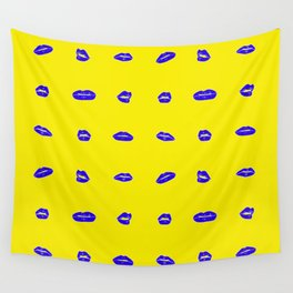 Yellow lips on blue Wall Tapestry
