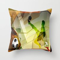 soccer Throw Pillows featuring Soccer by Robin Curtiss