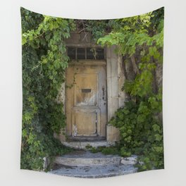 Provence Door covered with green vines Wall Tapestry