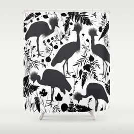 Black crowned crane with grass and flowers black silhouette Shower Curtain