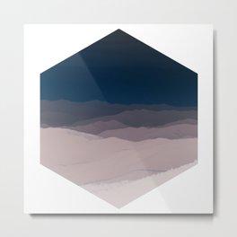 Hexagon Landscape - Dark Blue & Light Dusky Pink - Minimalist Nature Metal Print