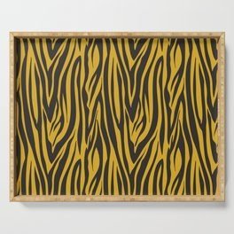 Grey and Gold Zebra Print Pattern Serving Tray