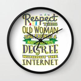 Respect This Woman Mathematics Degree Wall Clock