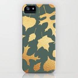 Autumn Elements Pattern (Gold&Sage) iPhone Case