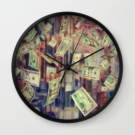 Falling Money Wall Clock