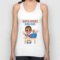 super heroes Tank Tops featuring Super Heroes Work Hard by youngmindz
