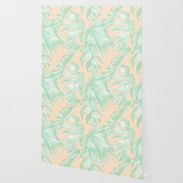 Tropical Palm Leaves on Pastel Coral II Wallpaper