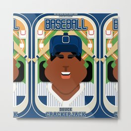 Baseball Blue Pinstripes - Deuce Crackerjack - Aretha version Metal Print