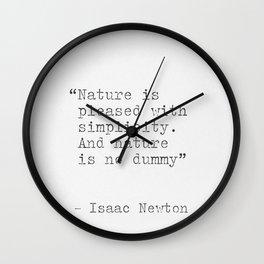 Isaac Newton quote Wall Clock