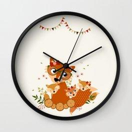 Maman renard et ses enfants Wall Clock