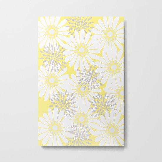 Summer Flowers Yellow Metal Print