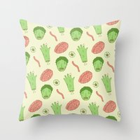 zombie Throw Pillows featuring Zombie by Paula García