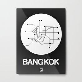 Bangkok White Subway Map Metal Print