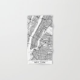 New York City Neutral Map Art Print Hand & Bath Towel