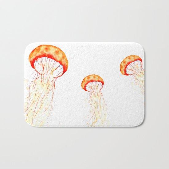 orange jellyfish watercolor Bath Mat