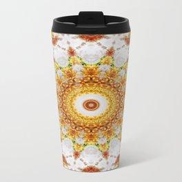 Gold Chrysanthemum Kaleidoscope Art 3 Travel Mug