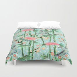 Bamboo, Birds and Blossom - soft blue green Duvet Cover