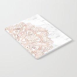 Rose Gold Mandala on Marble Notebook