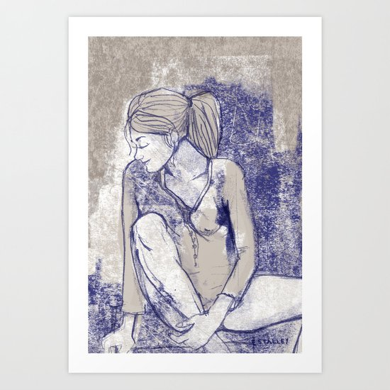 Girl lost in thought Art Print
