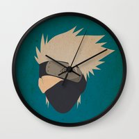 kakashi Wall Clocks featuring Kakashi Hatake Simplistic face by JamiePowellPrints