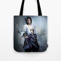 sasuke Tote Bags featuring Sasuke real style portrait by Shibuz4