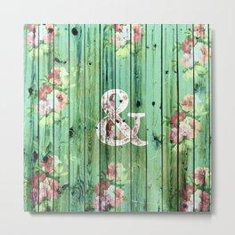 Vintage Floral Ampersand Turquoise Beach Wood Metal Print